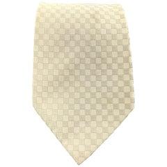 GIORGIO ARMANI Light Beige Checkered Textured Silk Tie