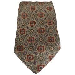 Giorgio Armani light green multicoloured silk tie