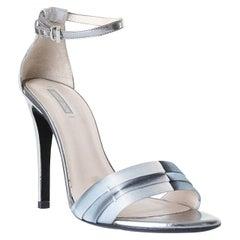 GIORGIO ARMANI metallic leather ankle strap sandals heels EU37 US7 UK4
