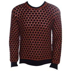 Giorgio Armani Navy Blue And Orange Patterned Knit Crew Neck Sweater L