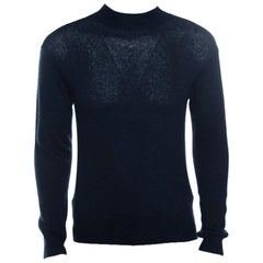 Giorgio Armani Navy Blue Cashmere and Silk Knit High Neck Sweater M