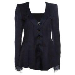 Giorgio Armani Navy Blue Jacquard Organza Trim Jacket S