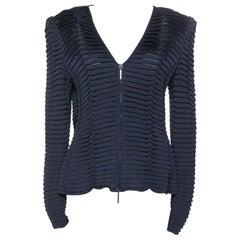 Giorgio Armani Navy Blue Pleated Knit Zip Front Jacket L