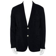Giorgio Armani Navy Blue Silk Button Front Blazer XXL