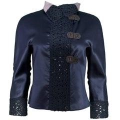 Giorgio Armani Navy Satin & Crochet Trim Jacket Sz IT40