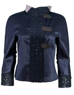 Giorgio Armani Navy Satin & Crochet Trim Jacket Sz IT40
