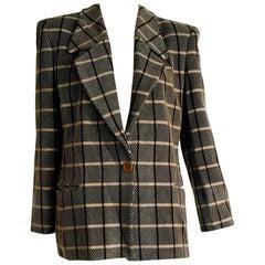 "Giorgio Armani ""New"" Beige and Cream Lines, Vertical brown, Wool Jaket - Unworn"