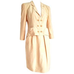 "Giorgio ARMANI ""New"" Beige Yellow tone Silk Jacket Skirt Suit - Unworn"
