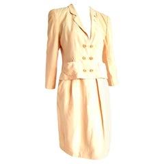 "Giorgio ARMANI ""New"" Beige Yellow tone Silk Jacket Skirt Suit - Unworn"