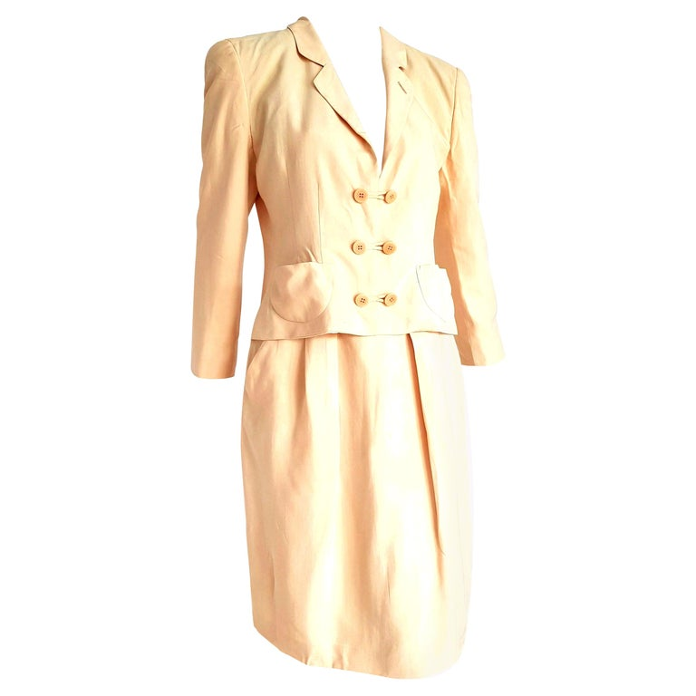 "Giorgio ARMANI ""New"" Beige Yellow tone Silk Jacket Skirt Suit - Unworn For Sale"