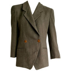 """Giorgio ARMANI """"New"""" Brown and Beige Double-Breasted Wool Jacket - Unworn"""