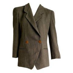 "Giorgio ARMANI ""New"" Brown and Beige Double-Breasted Wool Jacket - Unworn"