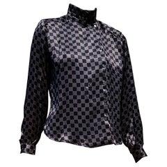 "Giorgio ARMANI ""New"" Brown Silver Black Silk Shirt - Unworn"