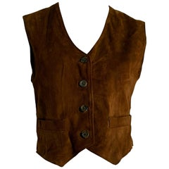 """Giorgio ARMANI """"New"""" Brown Suede 4 front Buttons Vest Gilet - Unworn"""