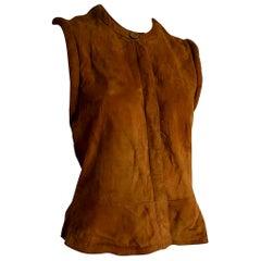 """Giorgio ARMANI """"New"""" Brown Suede Vest Gilet """"Dartagnan"""" model - Unworn"""