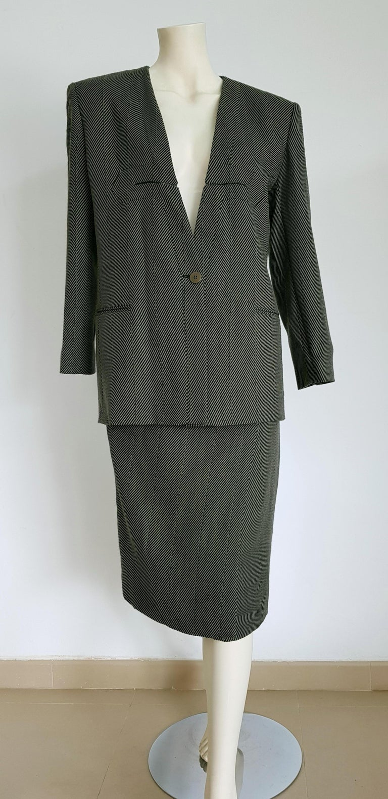 Giorgio ARMANI dark grey and light grey diagonal lines, jacket and skirt wool suit - Unworn, New.  SIZE: equivalent to about Small / Medium, please review approx measurements as follows in cm.  JACKET: lenght 75, chest underarm to underarm 50, bust