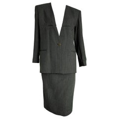 "Giorgio ARMANI ""New"" Dark and Light Gray Lines Wool Skirt Suit - Unworn"