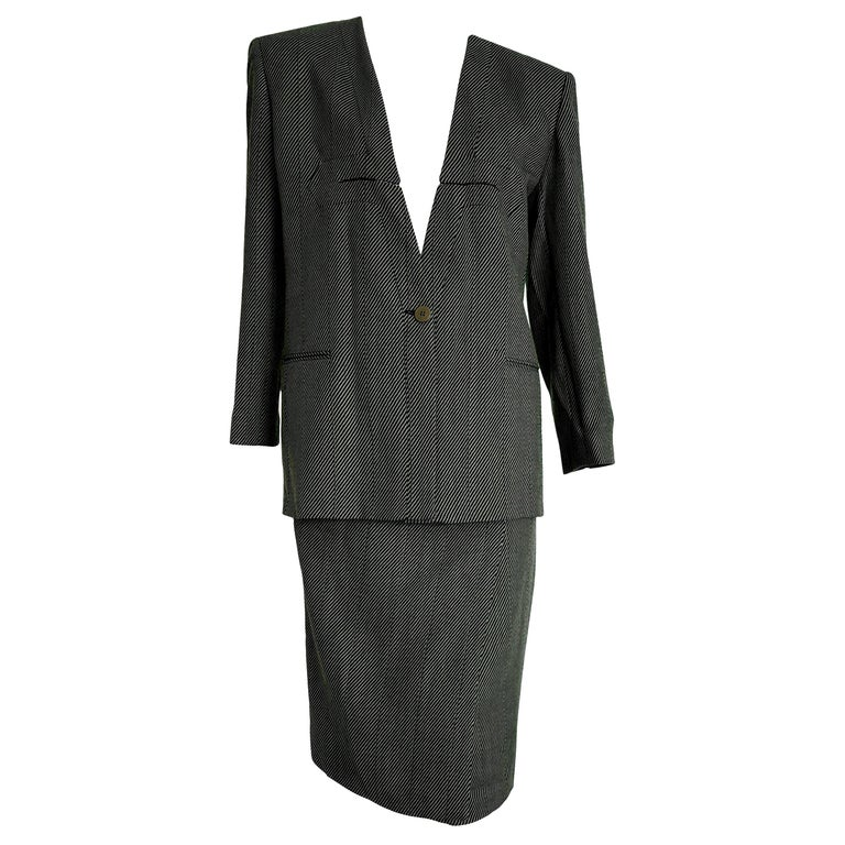 "Giorgio ARMANI ""New"" Dark and Light Gray Lines Wool Skirt Suit - Unworn For Sale"
