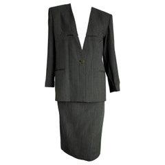 "Giorgio ARMANI ""New"" Dark and Light Gray Lines Wool Skirt Suit - Unworn"