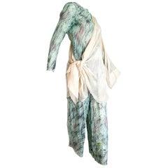 "Giorgio ARMANI ""New"" Green Abstract Design Chiffon 3 pcs Silk Ensemble - Unworn"