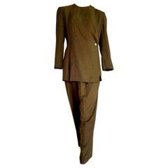 """Giorgio ARMANI """"New"""" Green Silk 1 button Closed collar Trousers Suit - Unworn"""