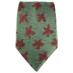 GIORGIO ARMANI Olive & Brown Floral Print Silk Tie