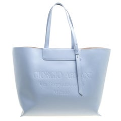 Giorgio Armani Pale Blue Leather Shopper Tote