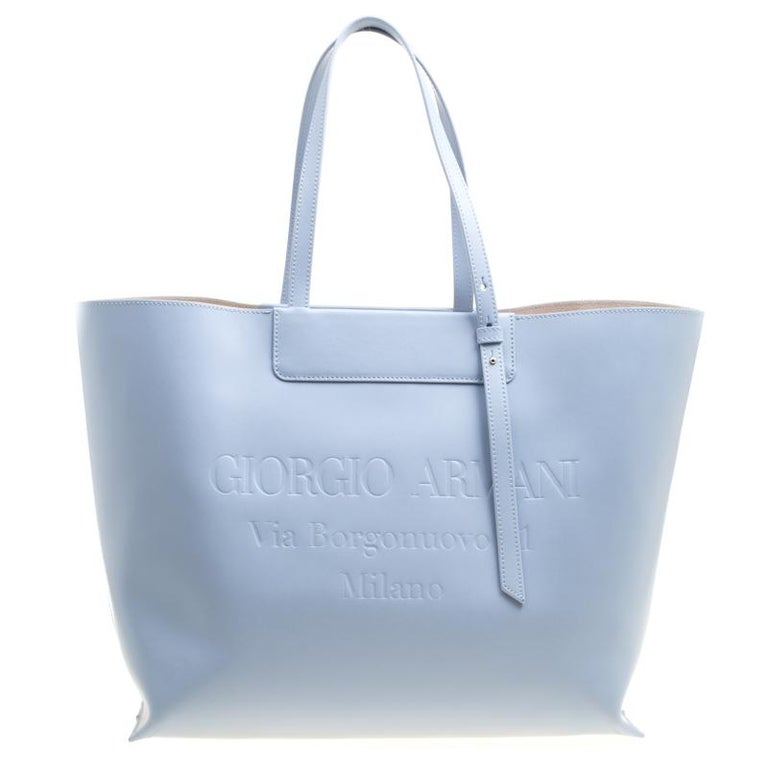 83b09c945b Giorgio Armani Pale Blue Leather Shopper Tote