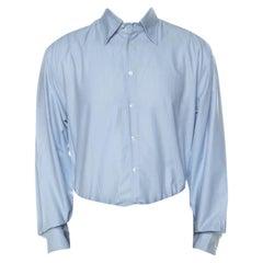 Giorgio Armani Pale Blue Striped Cotton Button Front Shirt XXL
