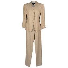 Giorgio Armani Pant Suit Neutral Nude Small Ruffle Detail 48 Fits 8 / 10