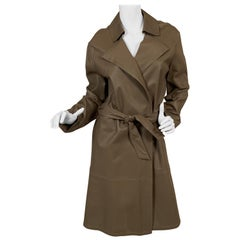 Giorgio Armani Perforated Taupe Leather Trench Coat