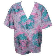 Giorgio Armani Pink Floral Jacquard Silk Blend Oversized Blouse XL