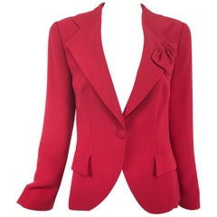 Giorgio Armani Red Silk Single Breasted Jacket with a Chic Lapel Bow