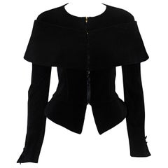 Giorgio Armani Ribbed Black Silk Jacket With Off Shoulder Short Cape Size 10 US