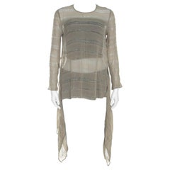 Giorgio Armani Sage Green Sheer Linen Silk Asymmetric Hem Long Sleeve Blouse M