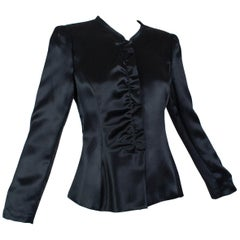 Giorgio Armani Black Satin Ruffle Placket Evening Jacket - US 6, 2003