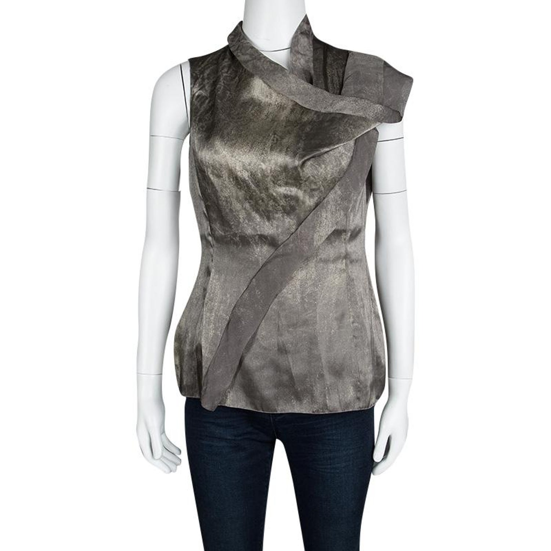 4be2561bb846c2 Giorgio Armani Silver Gunmetal Avant Garde Sleeveless Top M For Sale at  1stdibs