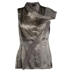 Giorgio Armani Silver Gunmetal Avant Garde Sleeveless Top M