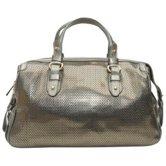 Giorgio Armani Silver Perforated Leather Handbag