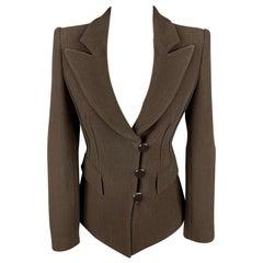 GIORGIO ARMANI Size 0 Brown Crepe Wool Blend Peak Lapel Jacket Blazer