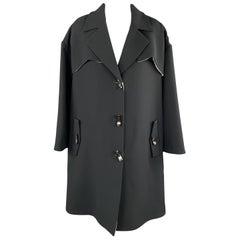 GIORGIO ARMANI Size 10 Black Silk Drop Shoulder Toggle Button Coat