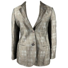 GIORGIO ARMANI Size 10 Grey Plaid Jacquard Linen Blend Notch Lapel Blazer