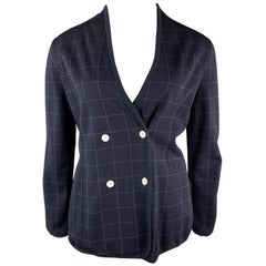GIORGIO ARMANI Size 12 Navy Windowpane Double Breasted Cardigan Jacket