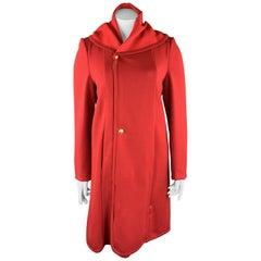 GIORGIO ARMANI Size 12 Red Round Collar Zip Button Coat