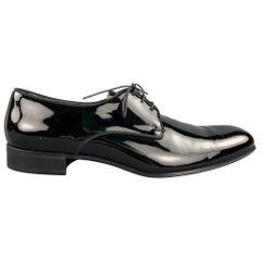 GIORGIO ARMANI Size 13 Black Patent Leather Lace Up Dress Shoes