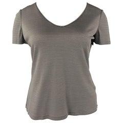 GIORGIO ARMANI Size 14 Black & White Stripe Jersey Knit Top