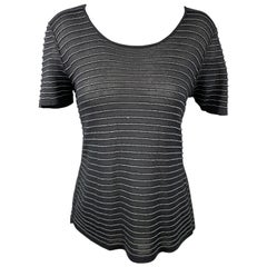 GIORGIO ARMANI Size 14 Grey Stripe Wide Neck Knit Top