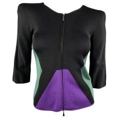 GIORGIO ARMANI Size 2 Black Green & Purple Color Block Shoulder Pad Jacke