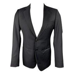 GIORGIO ARMANI Size 36 Regular Navy Chalkstripe Wool Sport Coat