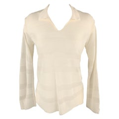 GIORGIO ARMANI Size 4 Cream Burnout Striped Viscose Collared Pullover